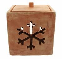 """Terracotta-Windlicht """"Schneeflocke"""" jetzt für 9.95 Euro kaufen im Frank Flechtwaren und Deko Online Shop"""