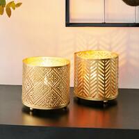 """Windlicht """"Gold"""", 2er Set jetzt für 6.95 Euro kaufen im Frank Flechtwaren und Deko Online Shop"""